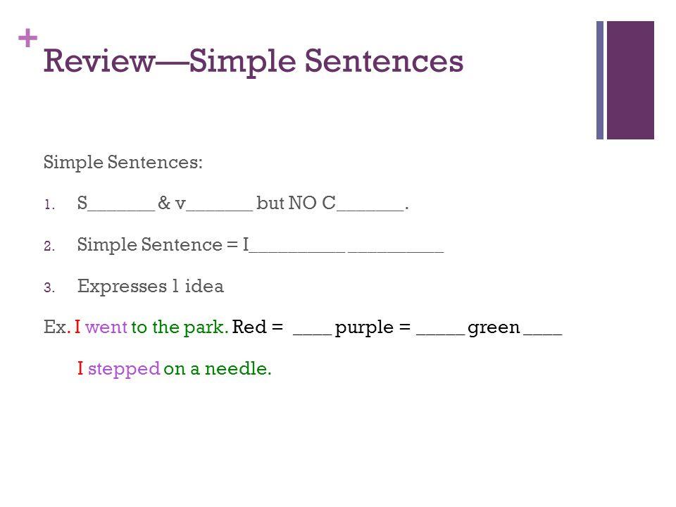 + Review—Simple Sentences Simple Sentences: 1.S_______ & v_______ but NO C_______.