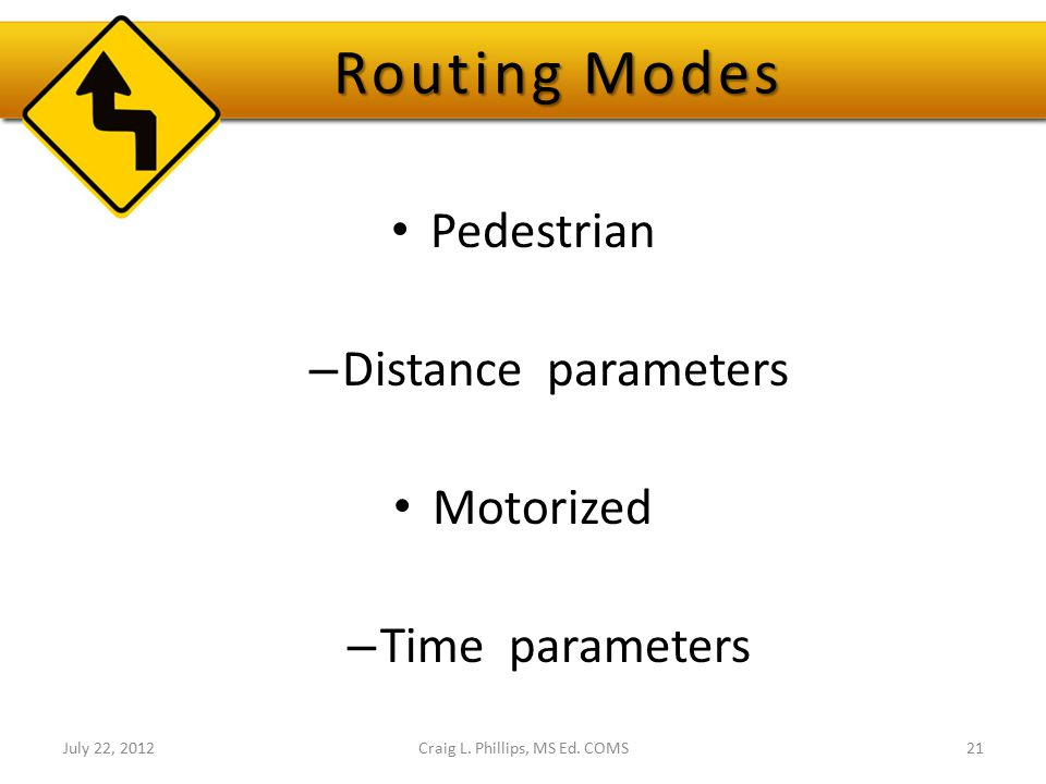 Routing Modes Pedestrian – Distance parameters Motorized – Time parameters July 22, 2012Craig L. Phillips, MS Ed. COMS21