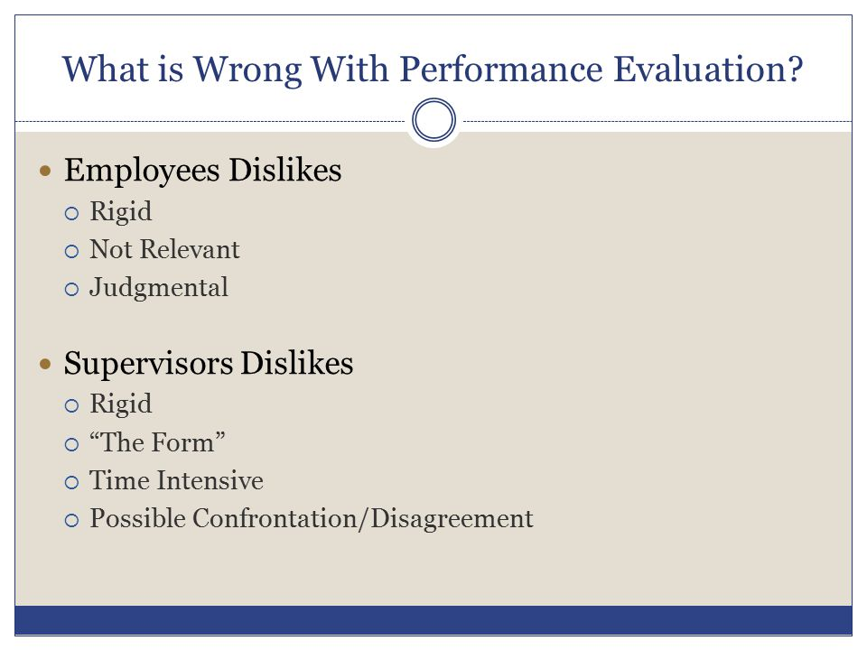 """What is Wrong With Performance Evaluation? Employees Dislikes  Rigid  Not Relevant  Judgmental Supervisors Dislikes  Rigid  """"The Form""""  Time Int"""