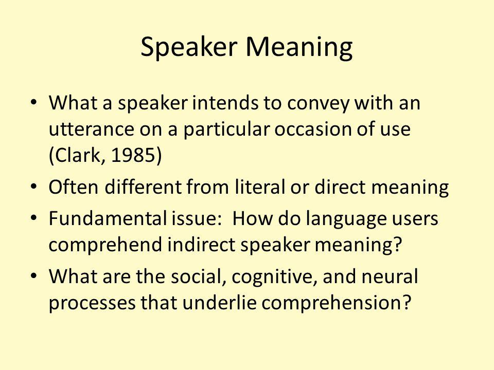 Comprehending Conversational Utterances: Experimental Studies of the Comprehension of Speaker Meaning Thomas Holtgraves Dept.