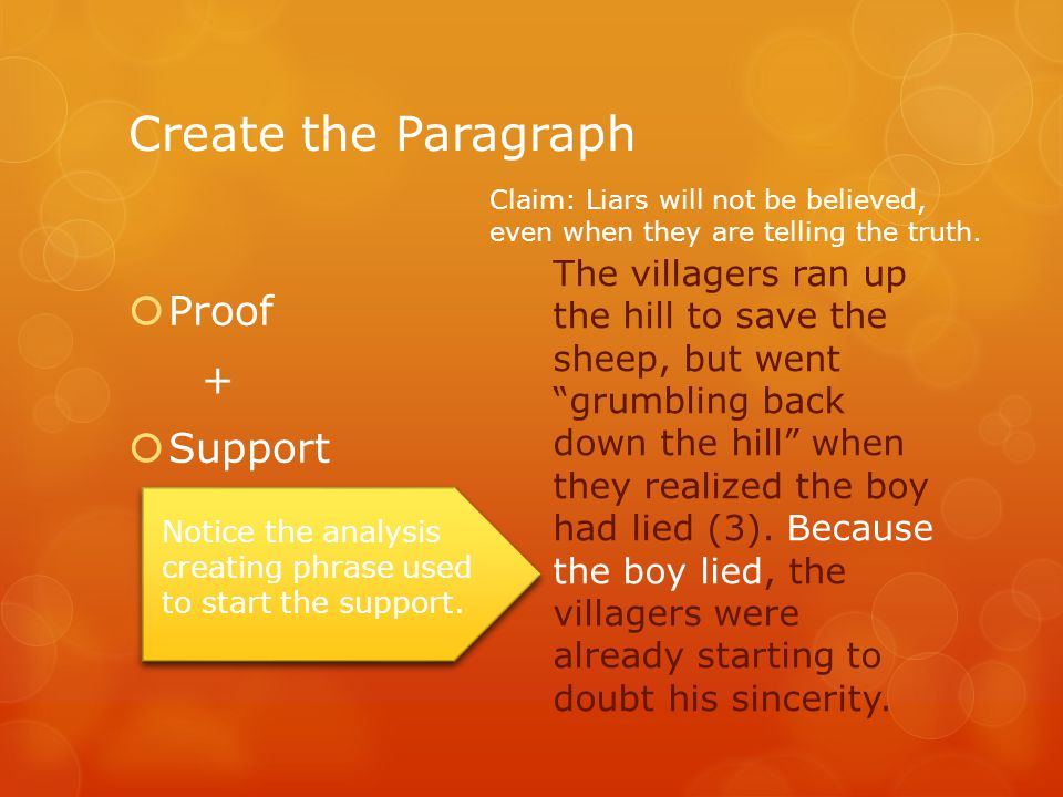 "Create the Paragraph  Proof +  Support The villagers ran up the hill to save the sheep, but went ""grumbling back down the hill"" when they realized t"