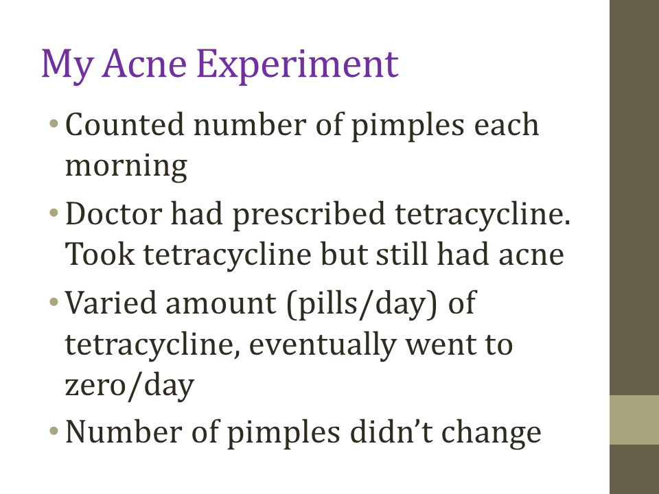 My Acne Experiment Counted number of pimples each morning Doctor had prescribed tetracycline.