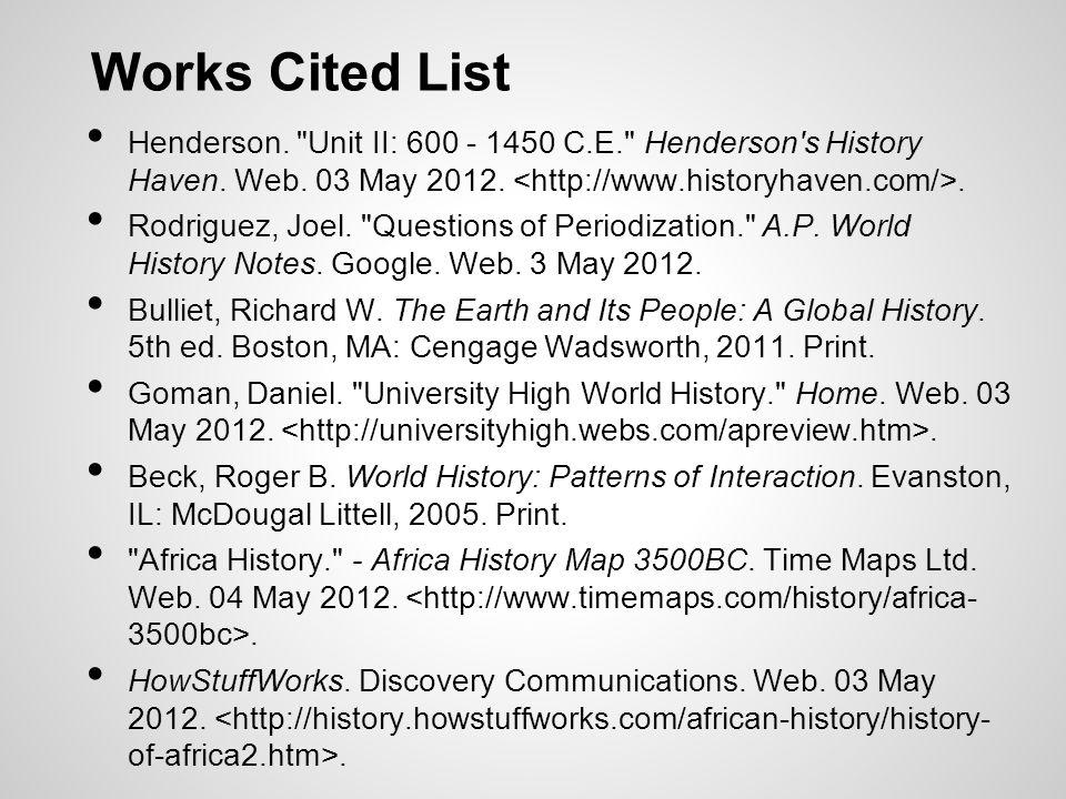 Works Cited List Henderson.