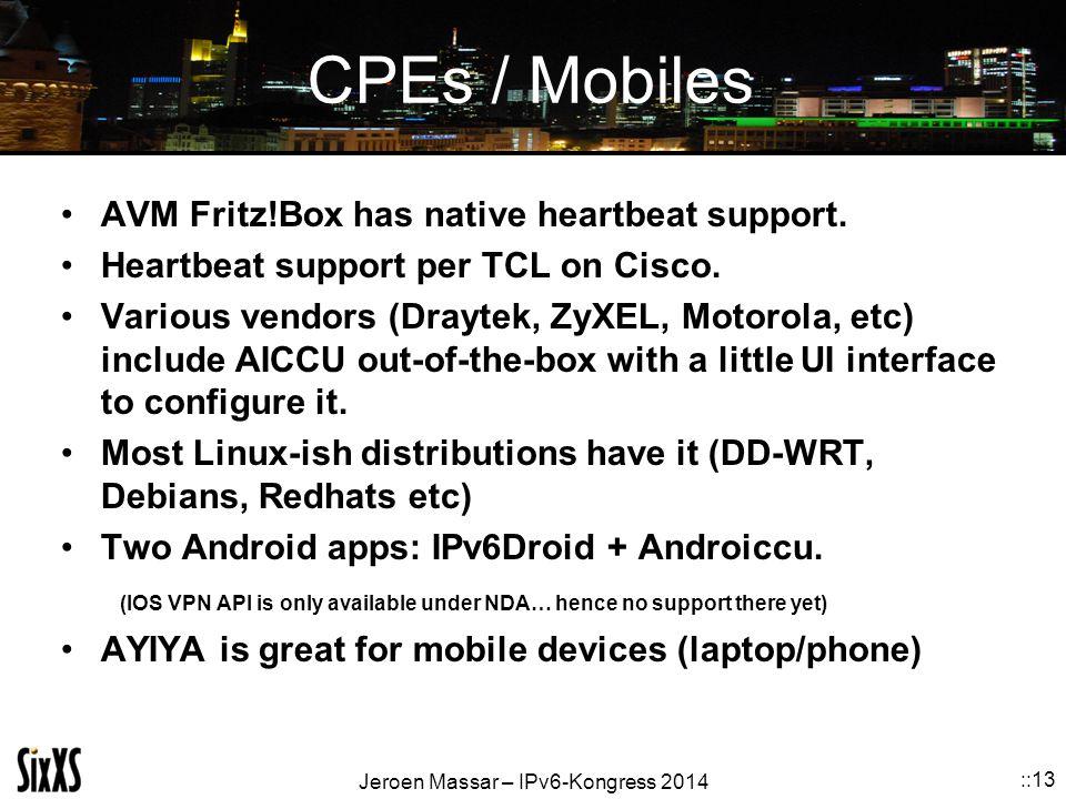 Jeroen Massar – IPv6-Kongress 2014 ::13 CPEs / Mobiles AVM Fritz!Box has native heartbeat support. Heartbeat support per TCL on Cisco. Various vendors