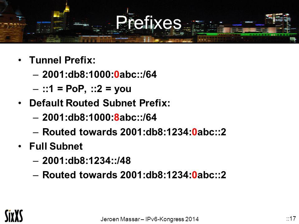 Jeroen Massar – IPv6-Kongress 2014 ::17 Prefixes Tunnel Prefix: –2001:db8:1000:0abc::/64 –::1 = PoP, ::2 = you Default Routed Subnet Prefix: –2001:db8:1000:8abc::/64 –Routed towards 2001:db8:1234:0abc::2 Full Subnet –2001:db8:1234::/48 –Routed towards 2001:db8:1234:0abc::2