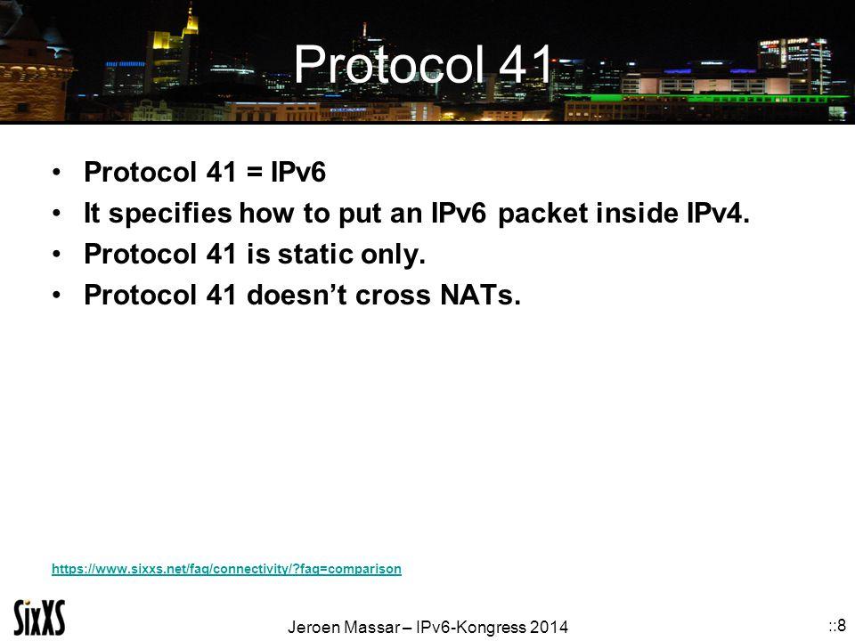 Jeroen Massar – IPv6-Kongress 2014 ::8 Protocol 41 Protocol 41 = IPv6 It specifies how to put an IPv6 packet inside IPv4.