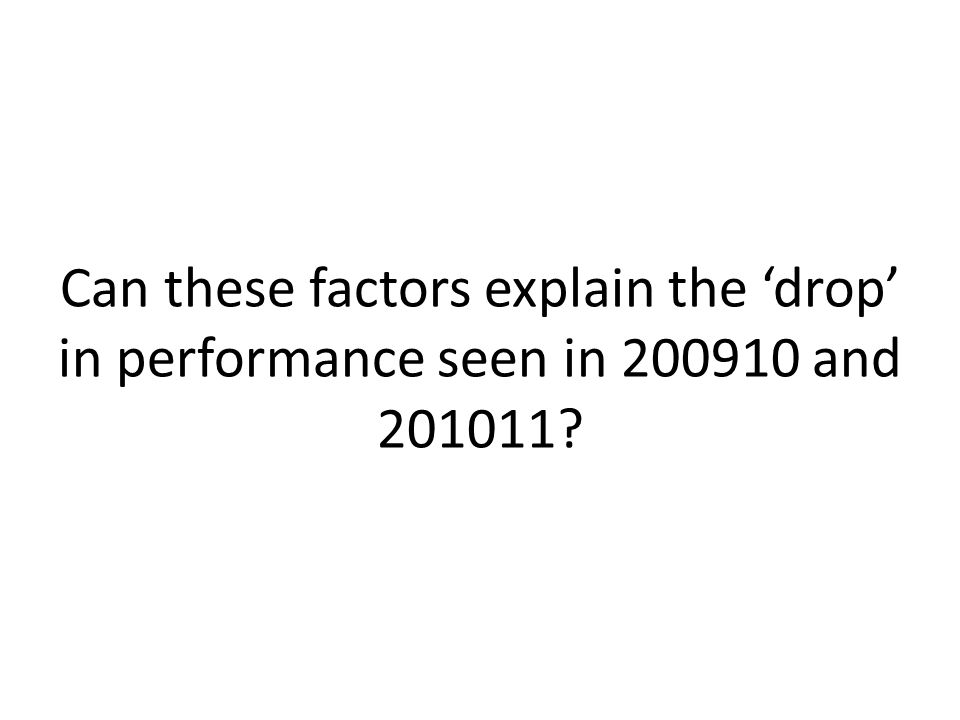 Can these factors explain the 'drop' in performance seen in 200910 and 201011?