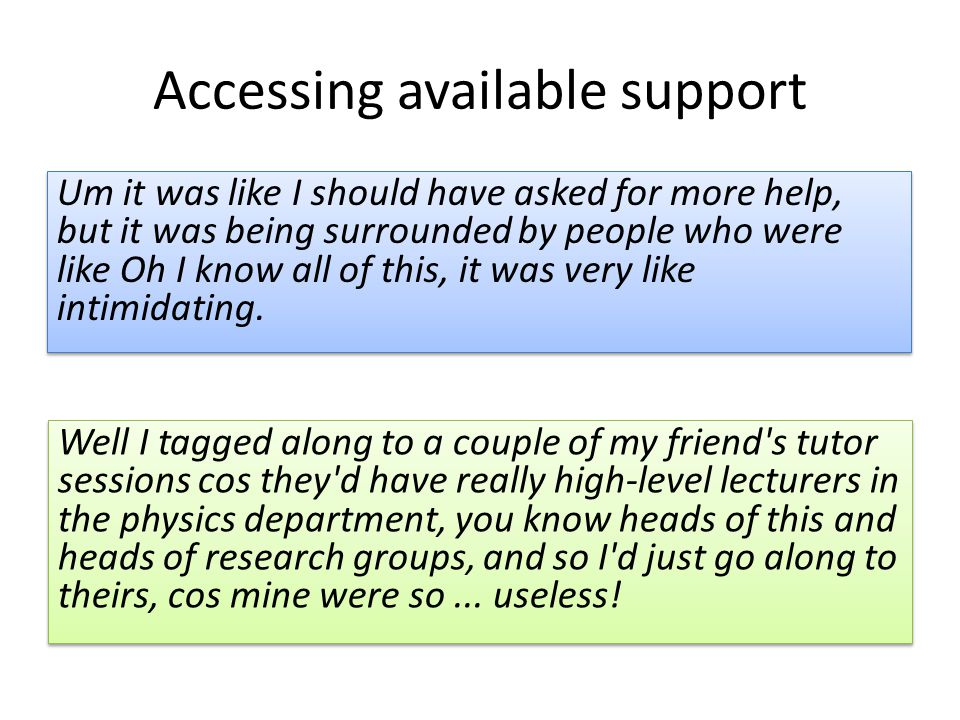 Accessing available support Well I tagged along to a couple of my friend's tutor sessions cos they'd have really high-level lecturers in the physics d