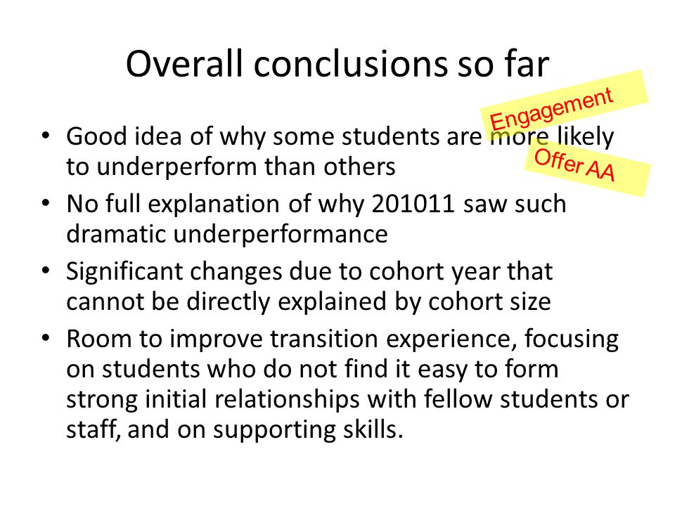 Overall conclusions so far Good idea of why some students are more likely to underperform than others No full explanation of why 201011 saw such drama