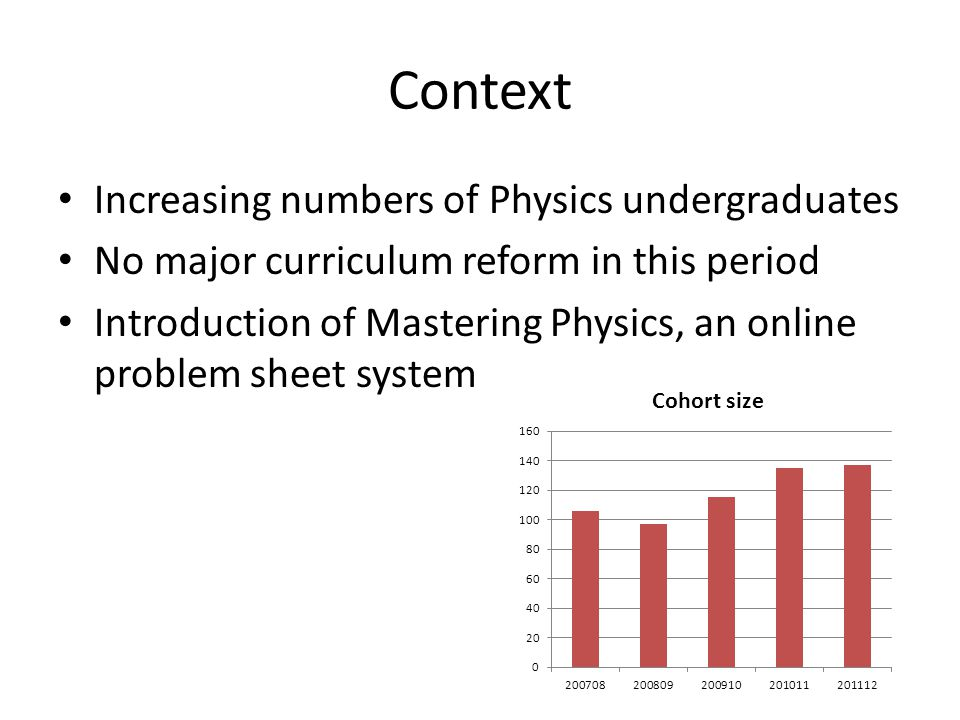 Context Increasing numbers of Physics undergraduates No major curriculum reform in this period Introduction of Mastering Physics, an online problem sh