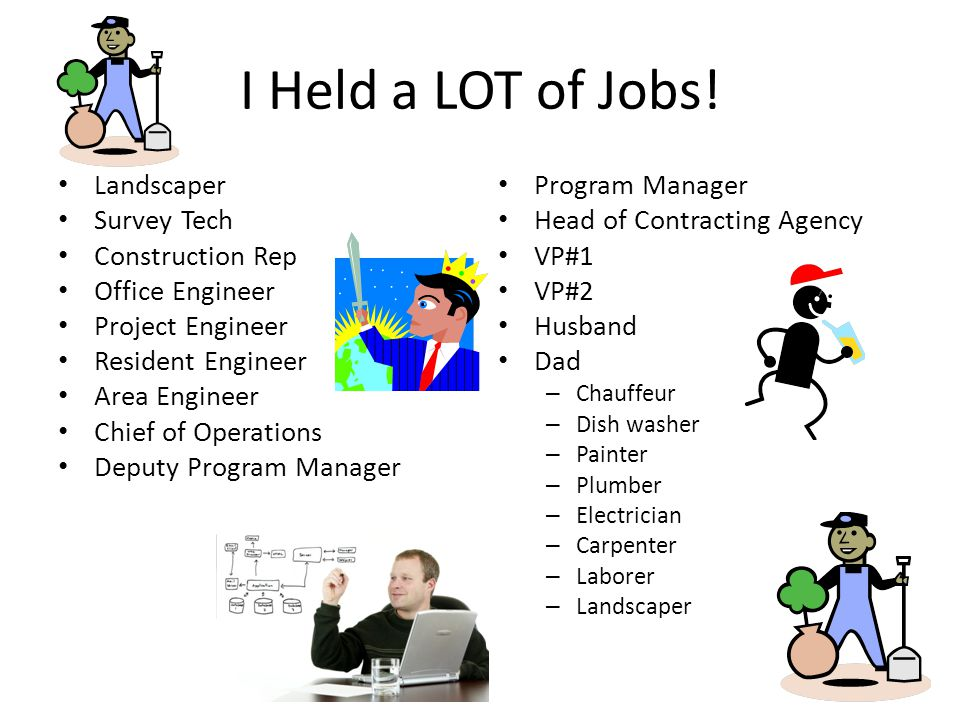 I Held a LOT of Jobs! Landscaper Survey Tech Construction Rep Office Engineer Project Engineer Resident Engineer Area Engineer Chief of Operations Dep