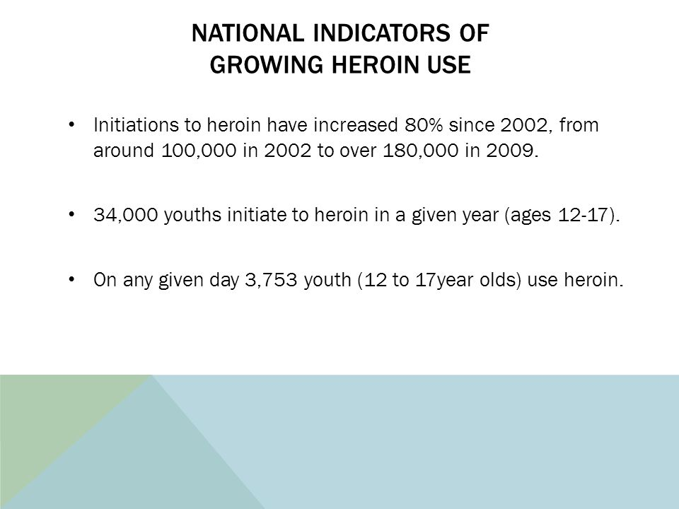 NATIONAL INDICATORS OF GROWING HEROIN USE Initiations to heroin have increased 80% since 2002, from around 100,000 in 2002 to over 180,000 in 2009. 34