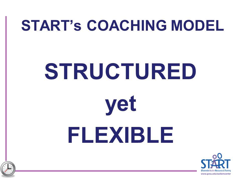 START's COACHING MODEL STRUCTURED yet FLEXIBLE