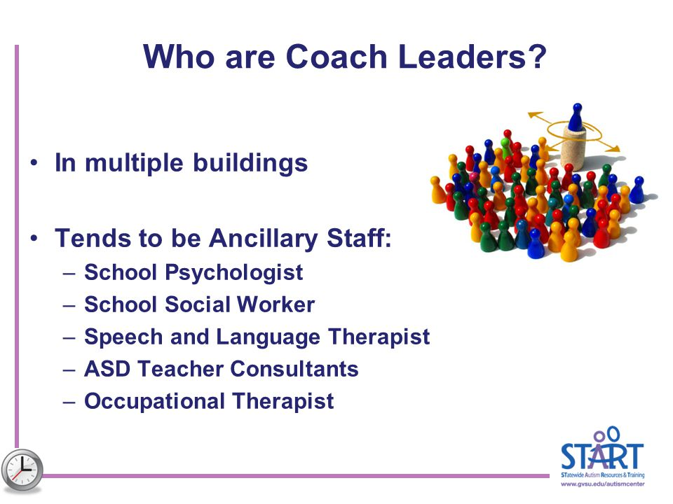 Who are Coach Leaders? In multiple buildings Tends to be Ancillary Staff: –School Psychologist –School Social Worker –Speech and Language Therapist –A