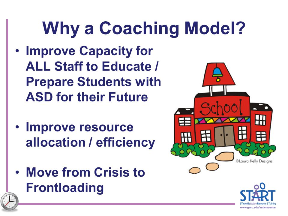 Why a Coaching Model? Improve Capacity for ALL Staff to Educate / Prepare Students with ASD for their Future Improve resource allocation / efficiency