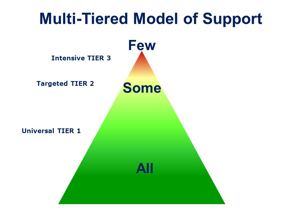 All Some Few Multi-Tiered Model of Support Intensive TIER 3 Targeted TIER 2 Universal TIER 1
