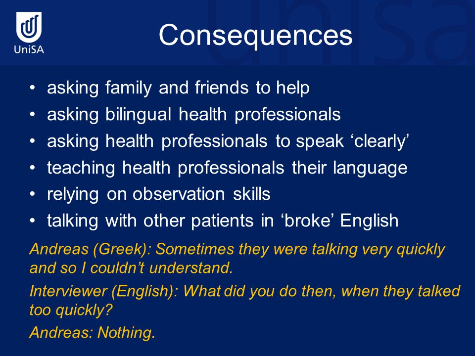 Consequences asking family and friends to help asking bilingual health professionals asking health professionals to speak 'clearly' teaching health pr