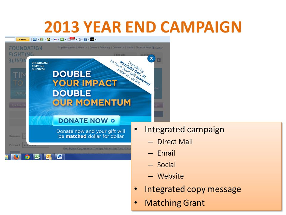 2013 YEAR END CAMPAIGN Integrated campaign – Direct Mail – Email – Social – Website Integrated copy message Matching Grant Integrated campaign – Direct Mail – Email – Social – Website Integrated copy message Matching Grant