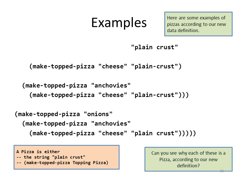 Examples plain crust (make-topped-pizza cheese plain-crust ) (make-topped-pizza anchovies (make-topped-pizza cheese plain-crust ))) (make-topped-pizza onions (make-topped-pizza anchovies (make-topped-pizza cheese plain crust ))))) Here are some examples of pizzas according to our new data definition.