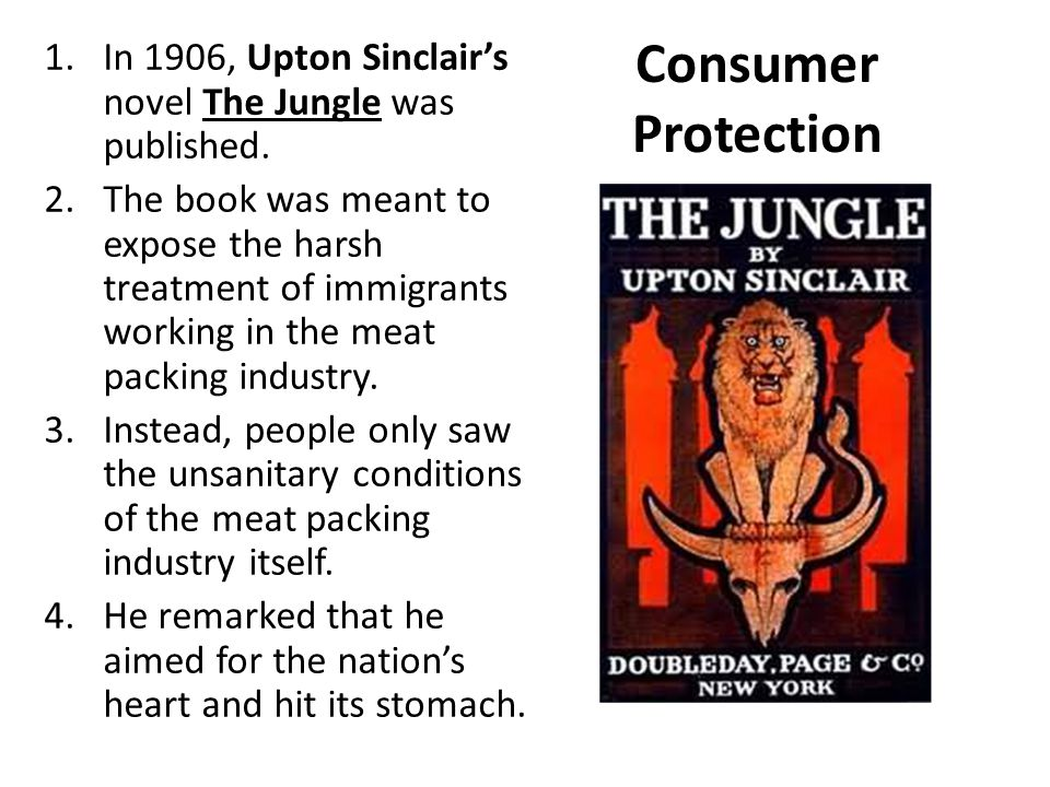 Consumer Protection 1.In 1906, Upton Sinclair's novel The Jungle was published. 2.The book was meant to expose the harsh treatment of immigrants worki