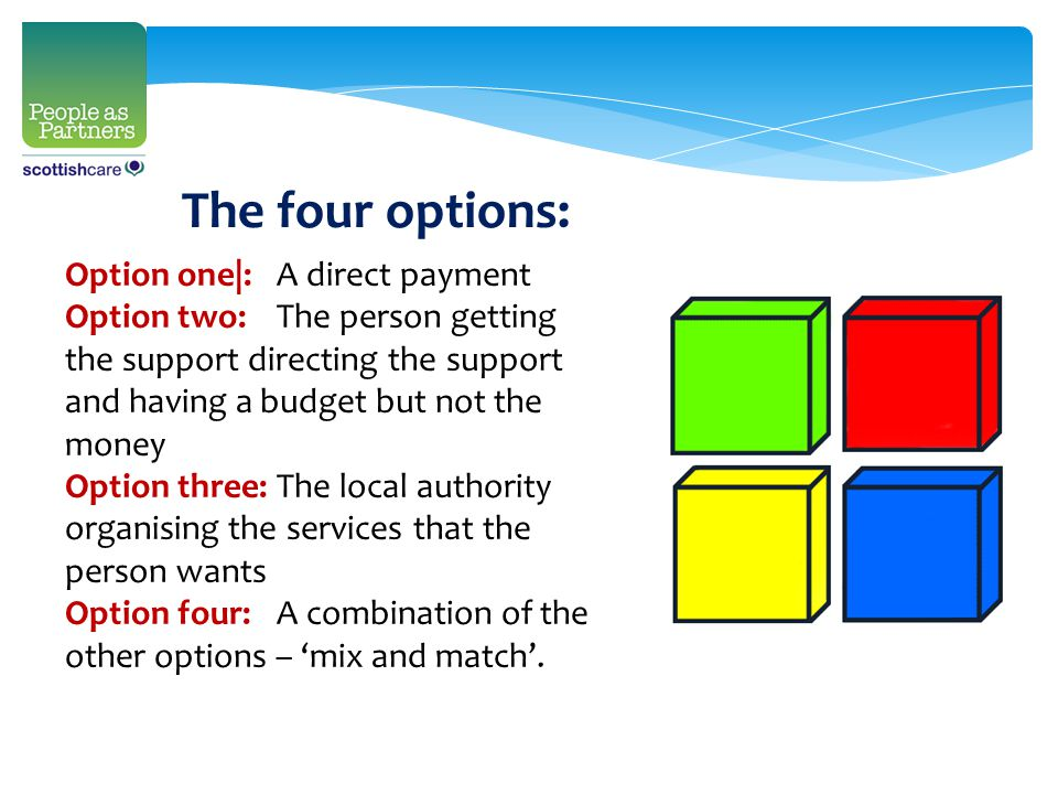 Option one|:A direct payment Option two:The person getting the support directing the support and having a budget but not the money Option three:The lo
