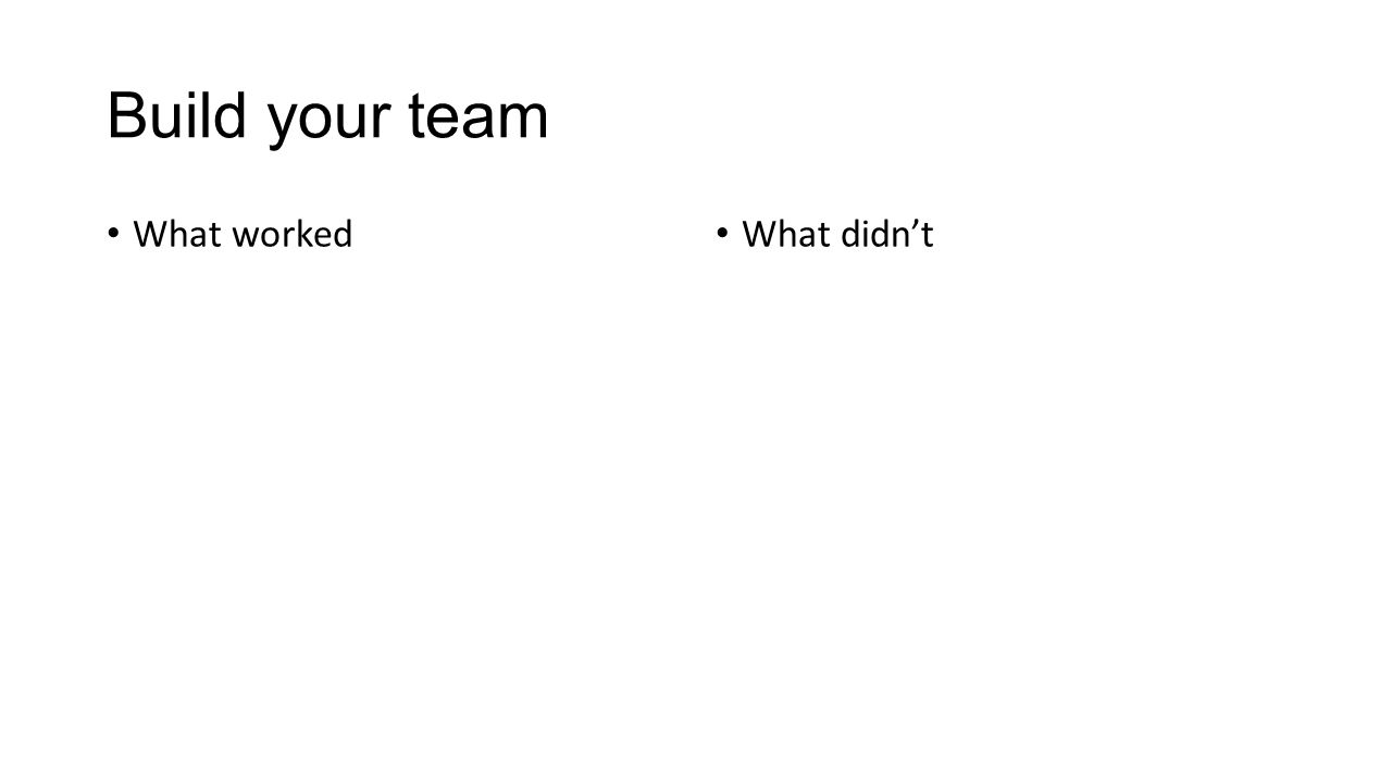 Build your team What worked What didn't