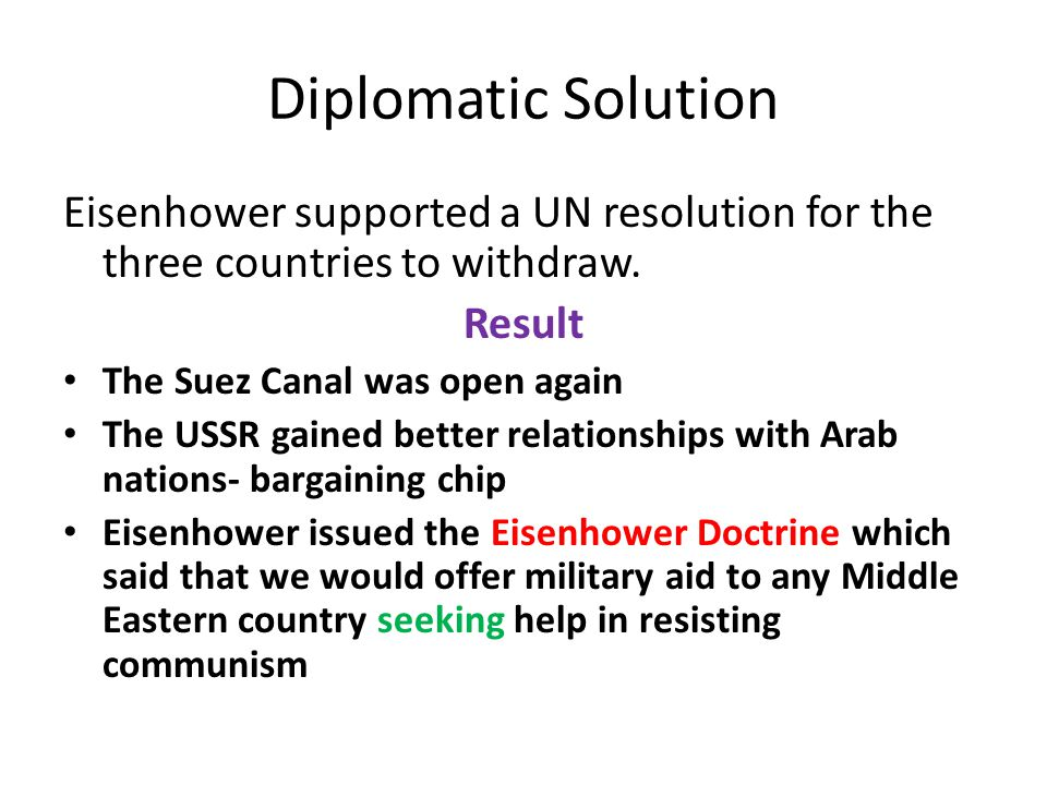 Diplomatic Solution Eisenhower supported a UN resolution for the three countries to withdraw.