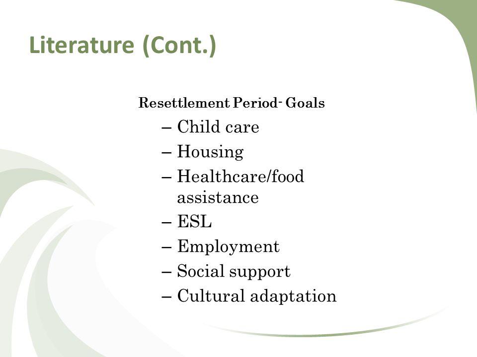 Literature (Cont.) Resettlement Period- Goals – Child care – Housing – Healthcare/food assistance – ESL – Employment – Social support – Cultural adaptation