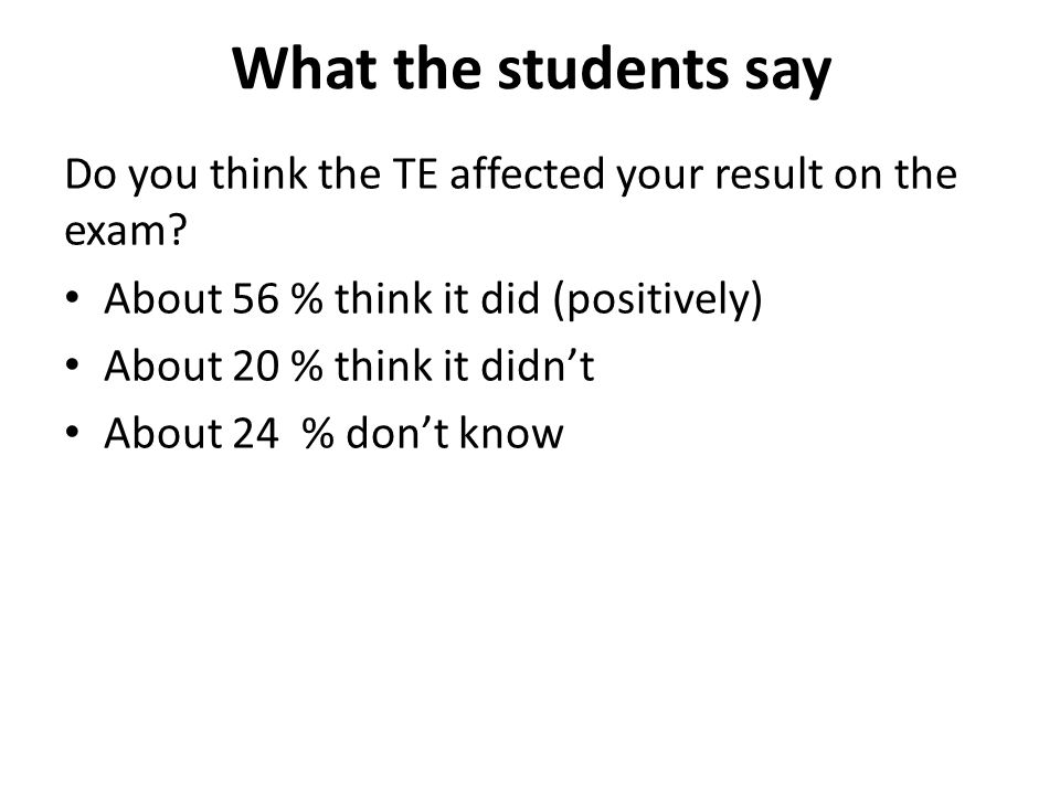 What the students say Do you think the TE affected your result on the exam.