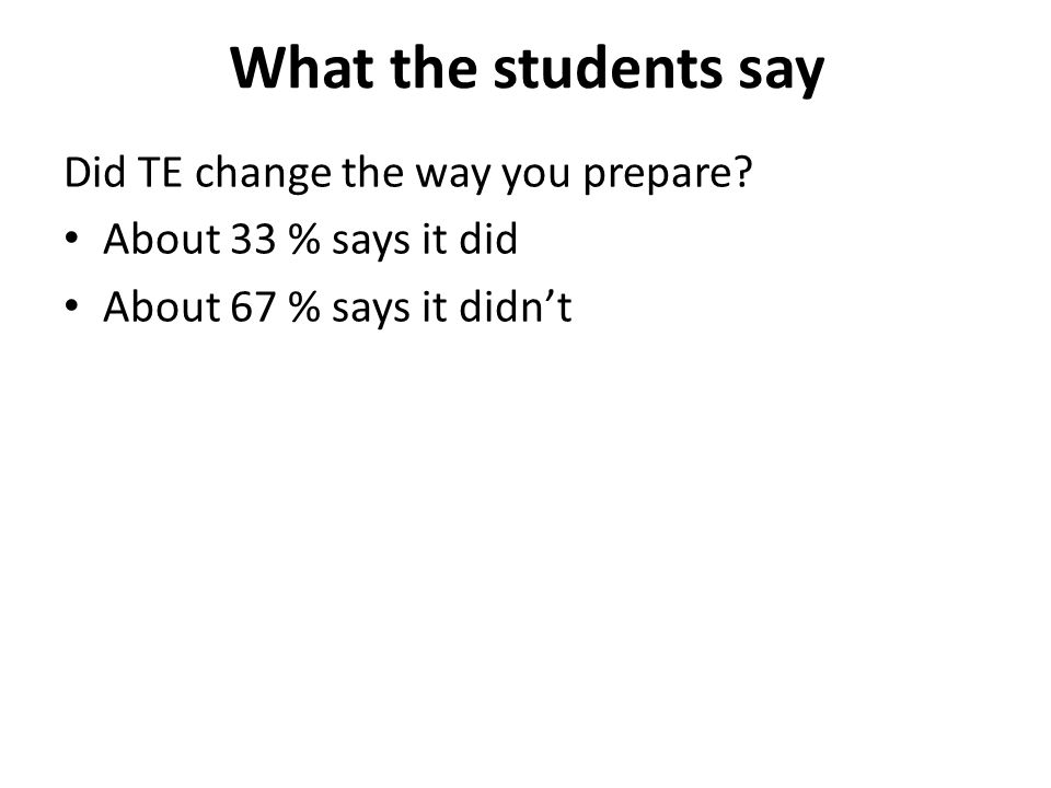 What the students say Did TE change the way you prepare.