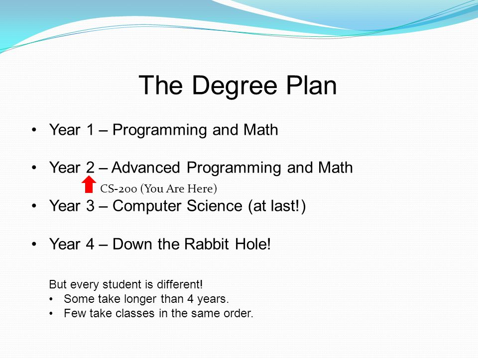 The Degree Plan Year 1 – Programming and Math Year 2 – Advanced Programming and Math Year 3 – Computer Science (at last!) Year 4 – Down the Rabbit Hole.