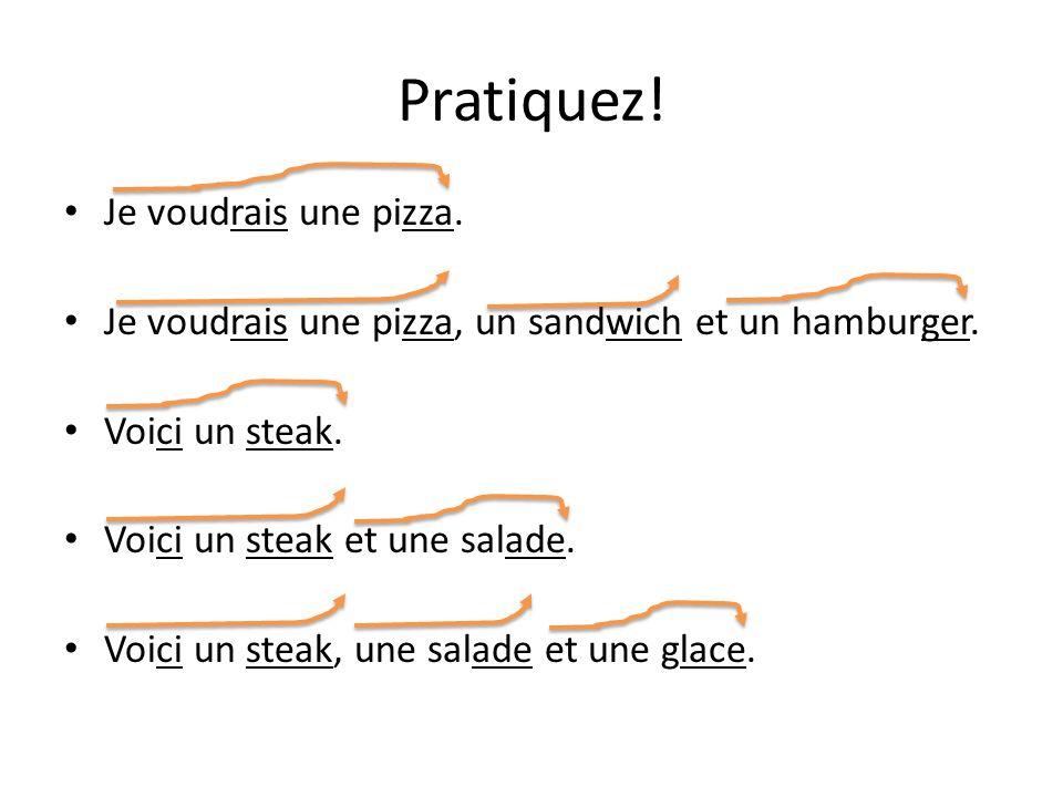 Pratiquez.Je voudrais une pizza. Je voudrais une pizza, un sandwich et un hamburger.