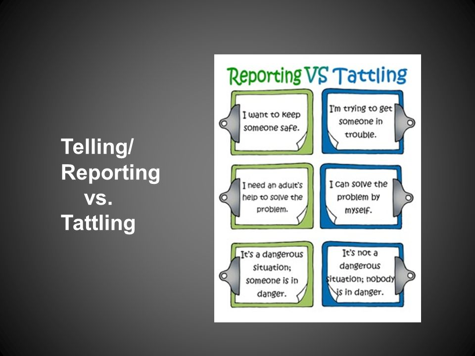 Telling/ Reporting vs. Tattling
