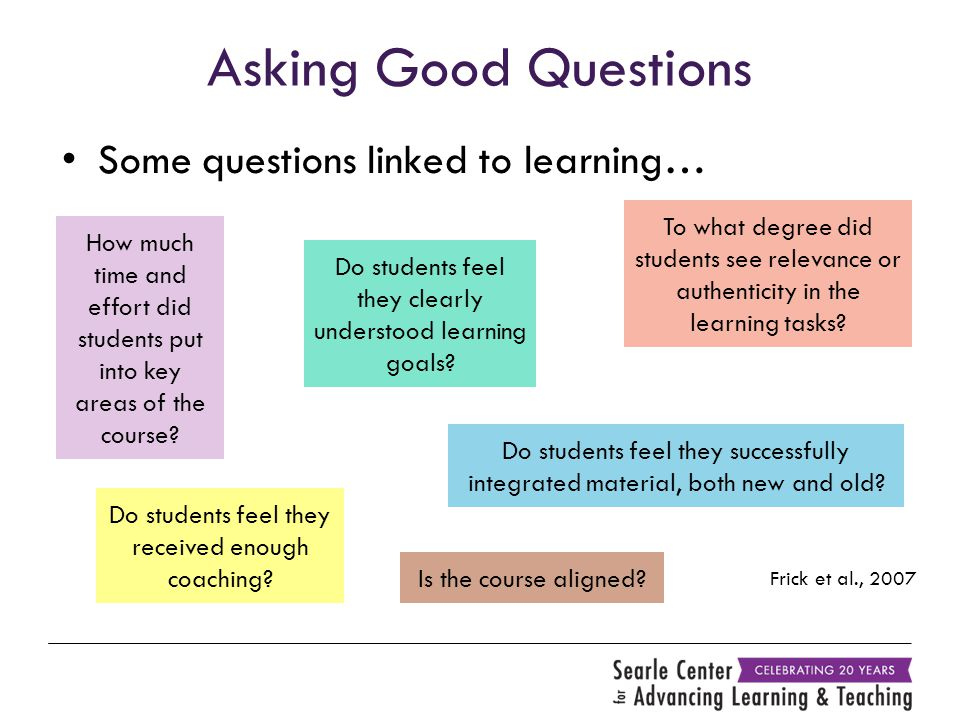 Asking Good Questions Some questions linked to learning… Frick et al., 2007 How much time and effort did students put into key areas of the course? To