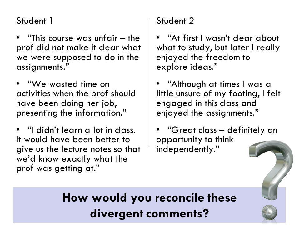 "Student 1 ""This course was unfair – the prof did not make it clear what we were supposed to do in the assignments."" ""We wasted time on activities when"