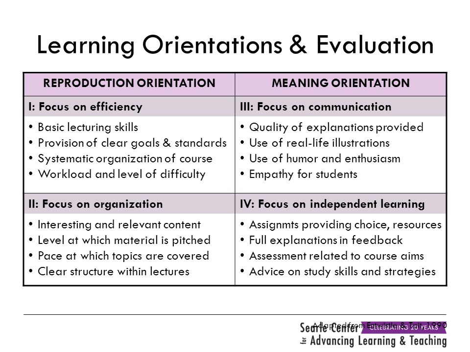 Learning Orientations & Evaluation REPRODUCTION ORIENTATIONMEANING ORIENTATION I: Focus on efficiencyIII: Focus on communication Basic lecturing skill