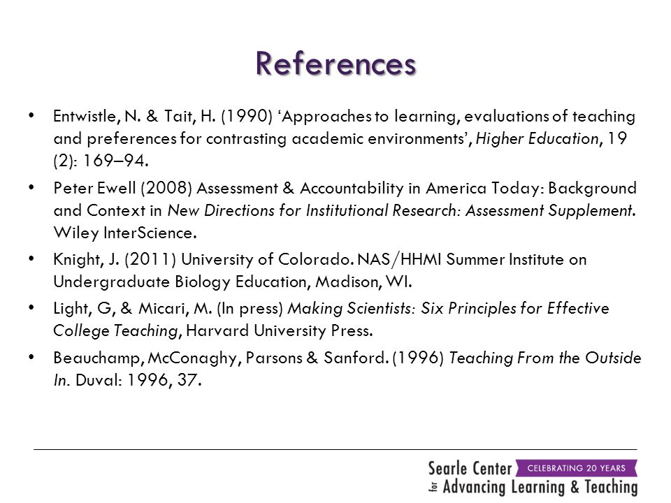 References Entwistle, N. & Tait, H. (1990) 'Approaches to learning, evaluations of teaching and preferences for contrasting academic environments', Hi