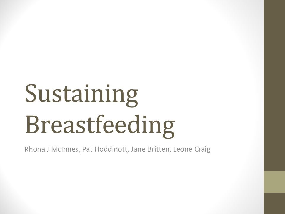 Sustaining Breastfeeding Rhona J McInnes, Pat Hoddinott, Jane Britten, Leone Craig
