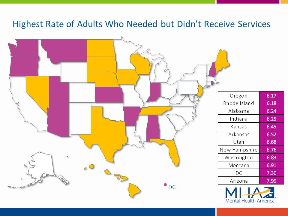 Highest Rate of Adults Who Needed but Didn't Receive Services