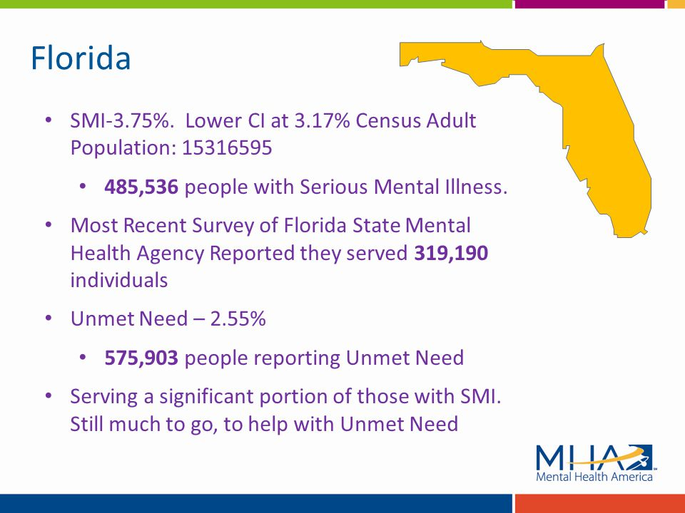 Florida SMI-3.75%. Lower CI at 3.17% Census Adult Population: 15316595 485,536 people with Serious Mental Illness. Most Recent Survey of Florida State