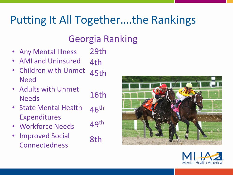 Putting It All Together….the Rankings Any Mental Illness AMI and Uninsured Children with Unmet Need Adults with Unmet Needs State Mental Health Expenditures Workforce Needs Improved Social Connectedness Georgia Ranking 29th 4th 45th 16th 46 th 49 th 8th