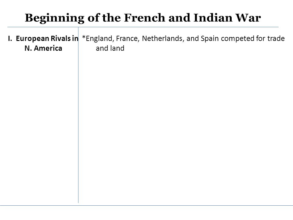 Beginning of the French and Indian War I.