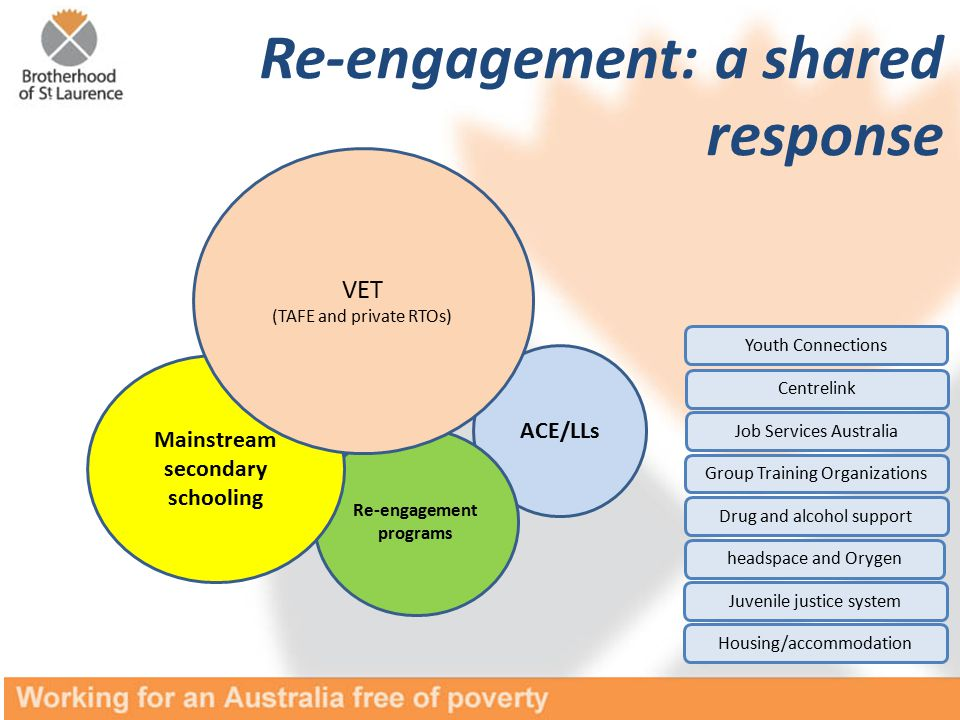 ACE/LLs Re-engagement programs Mainstream secondary schooling VET (TAFE and private RTOs) Re-engagement: a shared response headspace and Orygen Job Services Australia Juvenile justice system Drug and alcohol support Centrelink Group Training Organizations Housing/accommodation Youth Connections