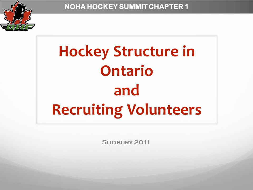NOHA HOCKEY SUMMIT CHAPTER 1 Goal of Session To provide some education.