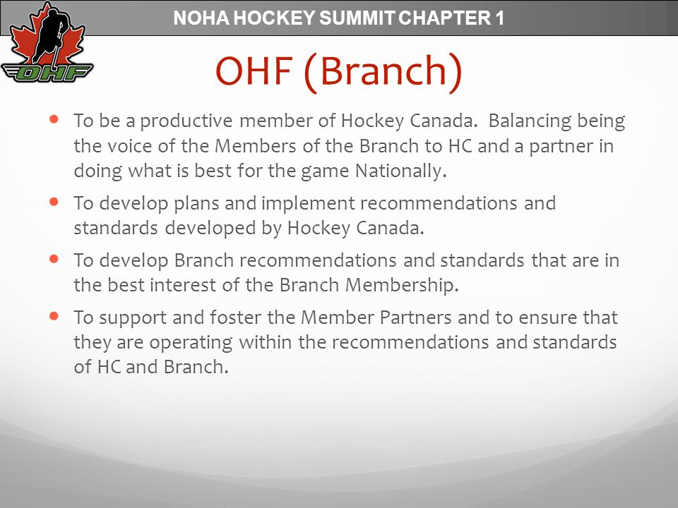 NOHA HOCKEY SUMMIT CHAPTER 1 OHF (Branch) To be a productive member of Hockey Canada.