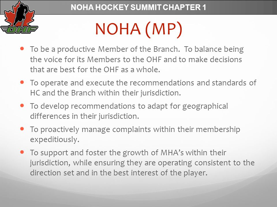 NOHA HOCKEY SUMMIT CHAPTER 1 NOHA (MP) To be a productive Member of the Branch.