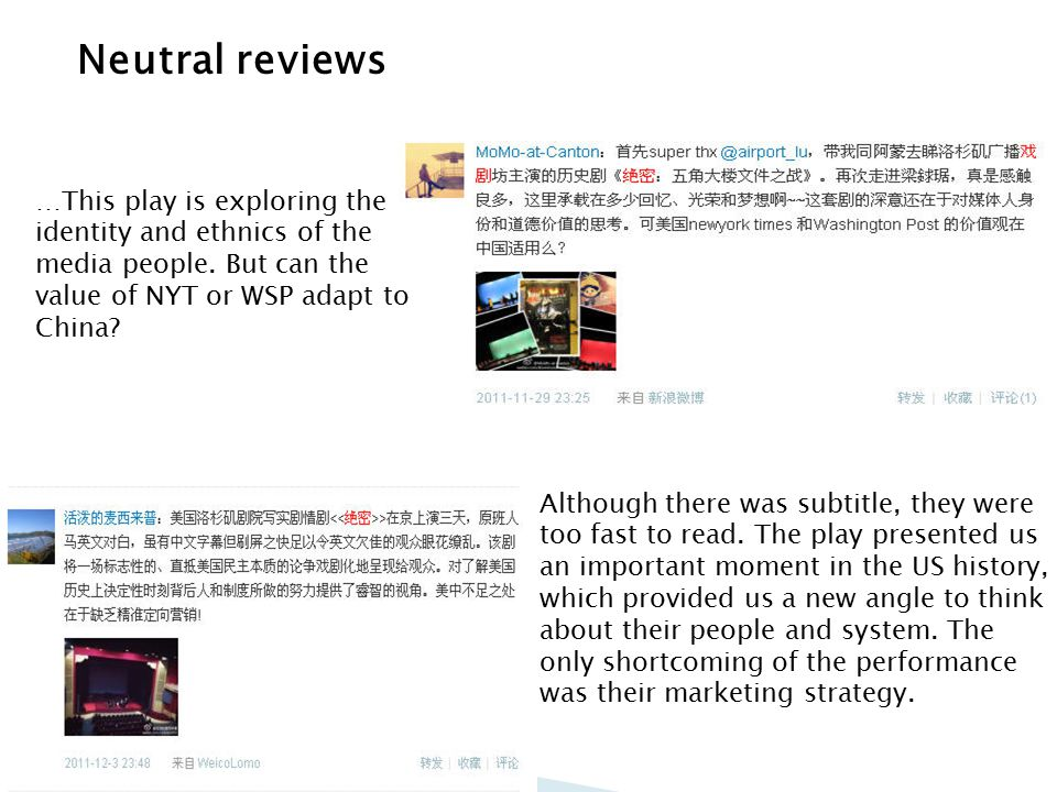 Neutral reviews …This play is exploring the identity and ethnics of the media people.