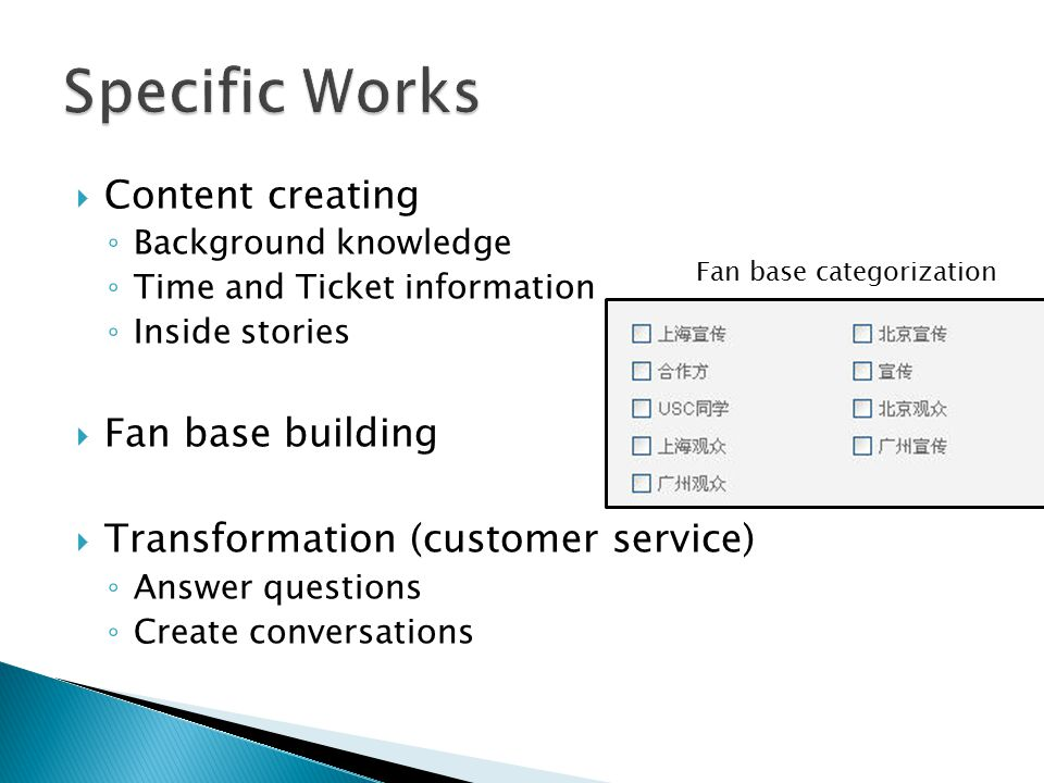  Content creating ◦ Background knowledge ◦ Time and Ticket information ◦ Inside stories  Fan base building  Transformation (customer service) ◦ Answer questions ◦ Create conversations Fan base categorization