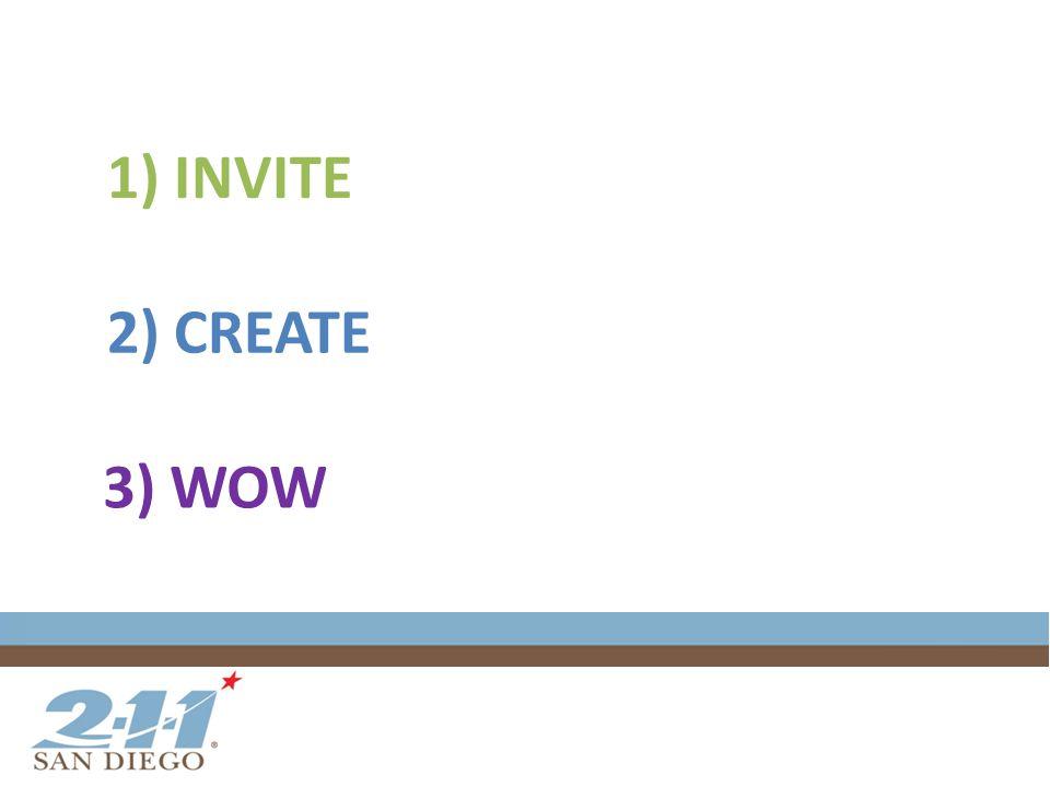 1) INVITE 2) CREATE 3) WOW
