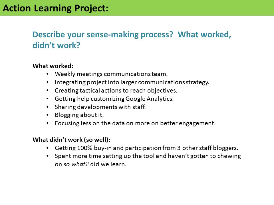 Action Learning Project: Describe your sense-making process.